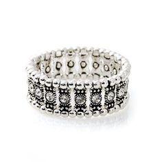 "DIAMOND DIVA BRACELET - Clear glass stone and beaded stretch bracelet. 2½"""