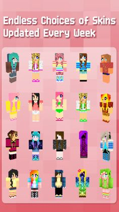 Girls play Minecraft also you know! Epic selection of girly skins.