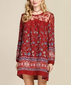 This Wine Floral Lace-Shoulder Shift Dress is perfect! #zulilyfinds