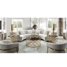 White Living Room Set, Classic Living Room, Living Room Sets, Living Room Modern, Living Room Designs, Corner Sofa Design, Couch Design, Round Couch, Curved Sofa
