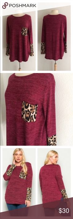 """2 LEFT! (Plus) Red/ animal print top Animal print top. Semi lightweight, yet warm! Feels closer to a sweater. Poly/ rayon/ spandex mix. Runs TTS- go up one size if you'd like a more oversized look.  1x: L 31""""  B 42""""  2x: L 32"""" B 44"""" ⭐️This item is brand new without tags 💲Price is firm unless bundled ✅Bundle offers Availability: 1x•2x • 1•1 Tops Tunics"""