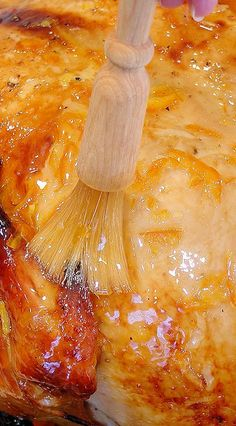 "Cider, Brandy and Tangerine Glaze ~ Sublime citrus finishing glaze, kissed with Grand Marnier®, for roasted turkey, pork roast or ham as the sparkling gem on the holiday table. Made in just 15 minutes. Perfect ""crowning touch"" for #Thanksgiving turkey or #Christmas ham. Guests over the #Holidays will rave! 