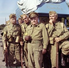 Lowe as Captain Mainwaring (centre) with John Le Mesurier as Sergeant Wilson (right) and Clive Dunn as Corporal Jones (left) British Sitcoms, British Comedy, Comedy Actors, Actors & Actresses, Jimmy Perry, John Le Mesurier, English Comedy, Dad's Army, Home Guard