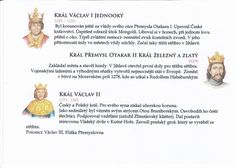 Přemyslovští králové 2/3 (Kartičky o Historii - Doporučuji zafoliovat a pak chronologicky ukládat do pořadače) School Hacks, Teaching, Education, History, Onderwijs, Teaching Manners, Learning, Studying