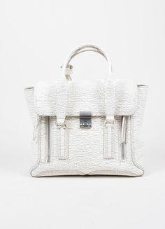 """3.1 Phillip Lim Cream and Grey Textured Leather Medium """"Pashli"""" Satchel Bag"""