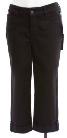 Not Your Daughter's Jeans Black Cotton Stretch 'Carmen' Cuffed Crop Pant 2P NYDJ. $44.99