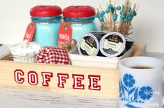 This organized coffee station—that uses mason jars to store creamer—has a place for everything you need to make your morning coffee as quickly as possible.