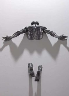 A set of male bronze sculpture by Milan Base sculptor Matteo Pugliese. The male figure and the concept of coming out from an other dimension is absolutely amazing. other works by Matteo Pugliese Ke… Instalation Art, Art Plastique, Wall Sculptures, Oeuvre D'art, Love Art, Metal Art, Amazing Art, Awesome, Sculpting