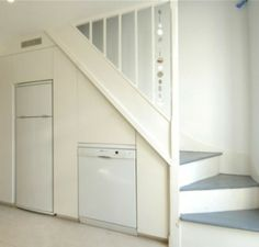 Extra fridge under basement stairs?! Why yes, it'll be a second life for the old one.