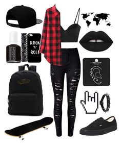 """rock n roll will never die"" by b-e-l-l-a-r-y-a-n ❤ liked on Polyvore featuring '47 Brand, Michael Lo Sordo, Essie, Lime Crime, Vans, Topshop, Akira and Casetify"