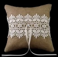 @Sarah Lyons i would like us to make something like this... but cuter Guipure Lace on Burlap Wedding Ring Pillow by Hoochiboo on Etsy, £15.99