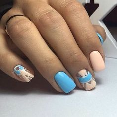 Accurate nails, Blue nail art, Drawings on nails, Ethnic nails, Half moon patterned nails, Modern nails, Original nails, Party nails