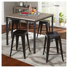 Barletta Counter Height Table Set Black/Gray/Black 5 Piece - Tms