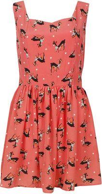 Coral Key Hole Back Deer Print Summer Dress