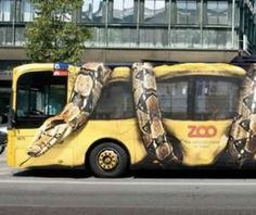 Copenhagen Zoo used giant shrink wrapped bus ads giving the impression they were being squeezed by a boa constrictor to drive membership. #ads #marketing #zoo