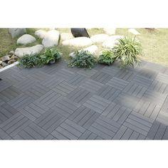 """Naturesort Bamboo Composite 12"""" x 12"""" Deck Tiles in Grey"""