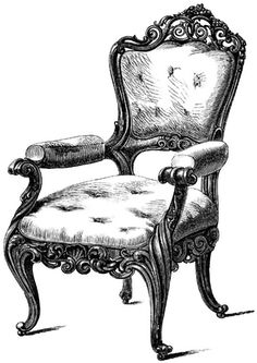 Chair carved from locust wood has fine inclined legs and carving around the center seat, top and bottom of backrest, vintage line drawing or engraving illustration , Drawing Furniture, Art Deco Furniture, Antique Furniture, Chair Drawing, Smart Furniture, Furniture Logo, Ikea Furniture, Classic Furniture, Repurposed Furniture