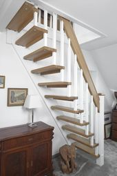 Straight cantilevered stairs built as space-saving stairs; Steps and handrail Holzar … – Deko Loft Staircase, Attic Stairs, Basement Stairs, House Stairs, Spiral Staircase, Loft Conversion Stairs, Attic Conversion, Attic Bedrooms, Basement Bedrooms