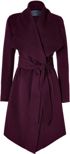 Donna Karan New York Cashmere Belted Coat in Claret