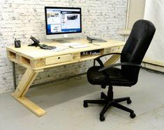 Plataforma escritorio de madera con 2 por woodandwiredesigns