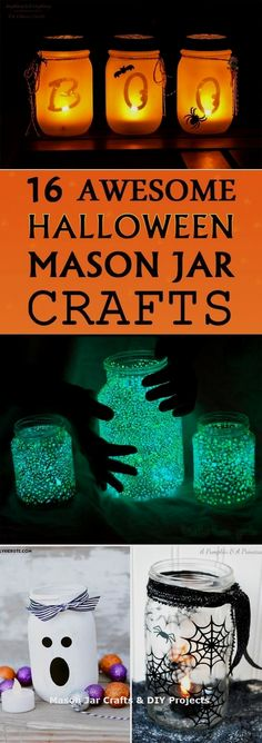 16 AWESOME Halloween Mason Jar Crafts From creepy to spooky to hauntingly pretty these Halloween mason jar crafts are sure to brighten up your house this holiday season. The post 16 AWESOME Halloween Mason Jar Crafts appeared first on Halloween Crafts. Halloween Tags, Halloween Projects, Diy Halloween Decorations, Holidays Halloween, Diy Projects, Creepy Halloween, Halloween Party, Halloween Costumes, Scary Witch