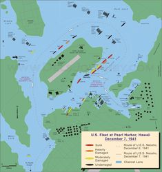 US Fleet at Pearl Harbor 7 December 1941 Pearl Harbor Map, Pearl Harbor Attack, World History Teaching, World History Lessons, Ww2 Facts, Middle School Counseling, Pearl City, December 7, Military History