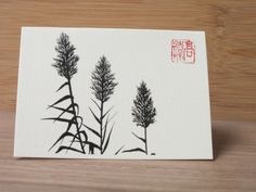 Ink drawing small greeting card of common Reed zen by InkFlower, $3.50