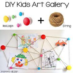 Diy kids art gallery with Ikea Losjon hooks and a string
