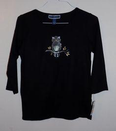 NWT Small Karen Scott Owl Print Black T-shirt 3/4 sleeve Glitter #KarenScott…
