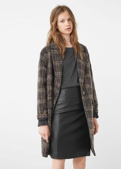Check wool-blend coat - Coats for Women | MANGO USA