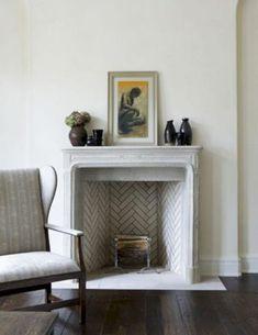herringbone tile fireplace, a timeless design Herringbone Fireplace, Stone Fireplace Mantel, Home Fireplace, Herringbone Tile, Fireplace Design, Fireplace Tiles, Fireplaces, Rumford Fireplace, Chevron Tile