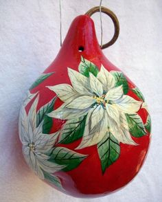 Christmas Painted Gourds | Christmas White Poinsettia's Painted Gourd Birdhouse - Holiday