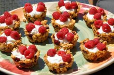 Granola cups w/ yogurt and berries. Darling & healthy brunch idea. Pretty easy to make. Crowd pleaser.