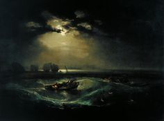 Fishermen at Sea by Joseph Mallord William Turner (British 1775–1851)....exhibited in 1796, the first oil painting exhibited by Turner at the Royal Academy