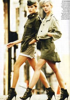 Different Models in a Military Style Photoshoot for American Vogue