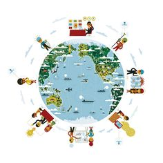 Globe / Business Activities - cute illustration by KHUAN+KTRON #map #globe
