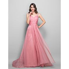 A-line/Princess Sweetheart  Floor-length Chiffon and Stretch Satin  Evening Dress – USD $ 199.99