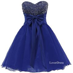 Royal Blue Homecoming Dresses, Sweet 16 Dress, Sweetheart Organza Short Cute Homecoming Dresses / Party Dresses / Prom Dresses