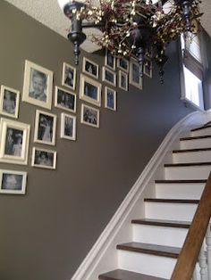 Brick Home Love: Front Entryway (CIL grey tweed) Farrow And Ball Lamp Room Grey, Grey Hallway, White Picture Frames, White Frames, Picture Wall, Dark Grey Walls, Home And Living, Living Room, Entryway