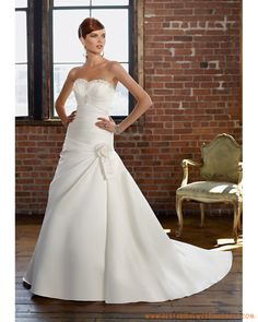 Satin Strapless Beaded Sweetheart Neckline with Rouched Bodice and A line Skirt Custom Made Elegant Wedding Dresses