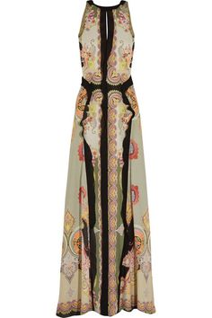 Etro | Printed slub silk-crepe maxi dress | NET-A-PORTER.COM Love the look and easy to cover arms should skin be an issue.