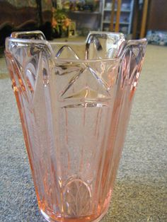 Vintage Pink Depression Glass Vase