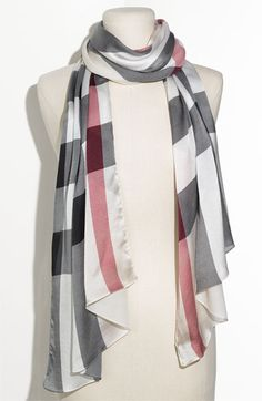 Burberry Check Print Silk Scarf available at #Nordstrom