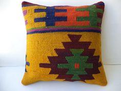 "KİLİM PİLLOW,16""x16"" inch Colorful Turkish Kilim Rug Pillow Cover,Ethnic Kilim Pillow,Yellow Kilim Pillow,Throw Pillow,Kilim Cushion Cover."