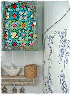 crochet granny square cupboard