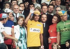 Tour de France 1973 was won by Luis Ocaña. Bernard Thévenet (on the left) was second in GC. Herman Van Springel (on the right) won the green jersey/Points Competition.