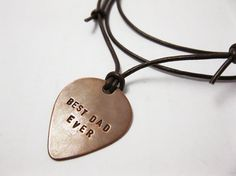 Mens Necklace Personalized Copper Guitar Pick  by MetalAccessories, $22.00