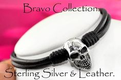2N-543 Solid Sterling Silver & Leather Unisex New Choker Skull Men Necklace.