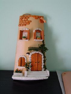 Craft Stick Crafts, Clay Crafts, Diy And Crafts, Craft Projects, Projects To Try, Jar Lanterns, Clay Houses, Play Clay, Roof Tiles