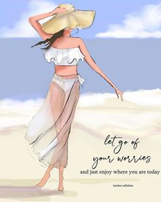 Let Go of Your Worries – Heather Stillufsen – Motivational Quotes – Heather Stillufsen Quotes – Beach Quotes Bon Weekend, Hello Weekend, Mode Poster, Beach Quotes, New Print, Love Quotes For Him, Illustrations, Illustration Art, Copic